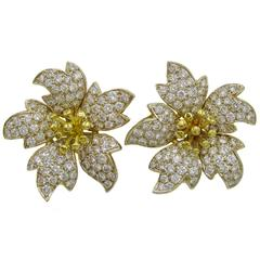 1980s Stunning Diamond Gold Ear Clips