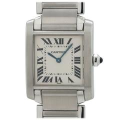 Cartier Stainless Steel Tank Francaise Quartz Wristwatch