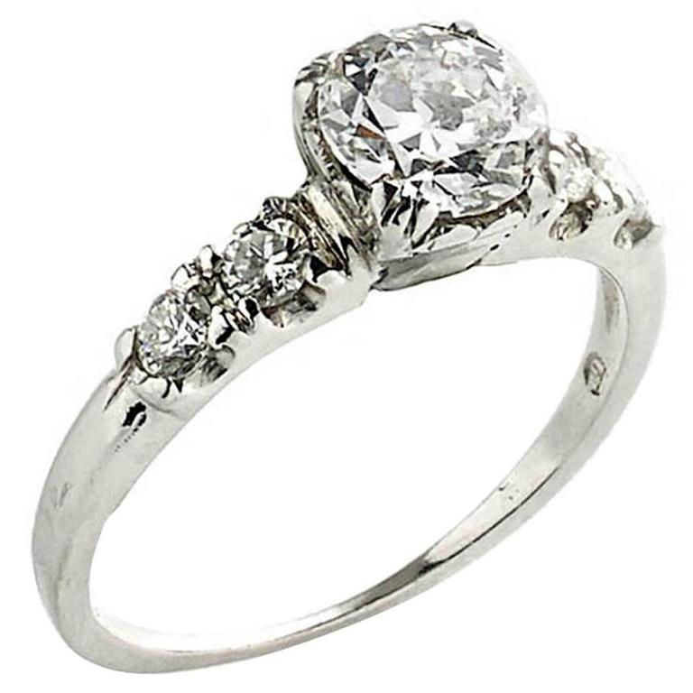 .75 Carat Old Cut Diamond Platinum Ring