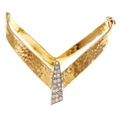 "Diamond Gold ""V""  Bangle Bracelet"