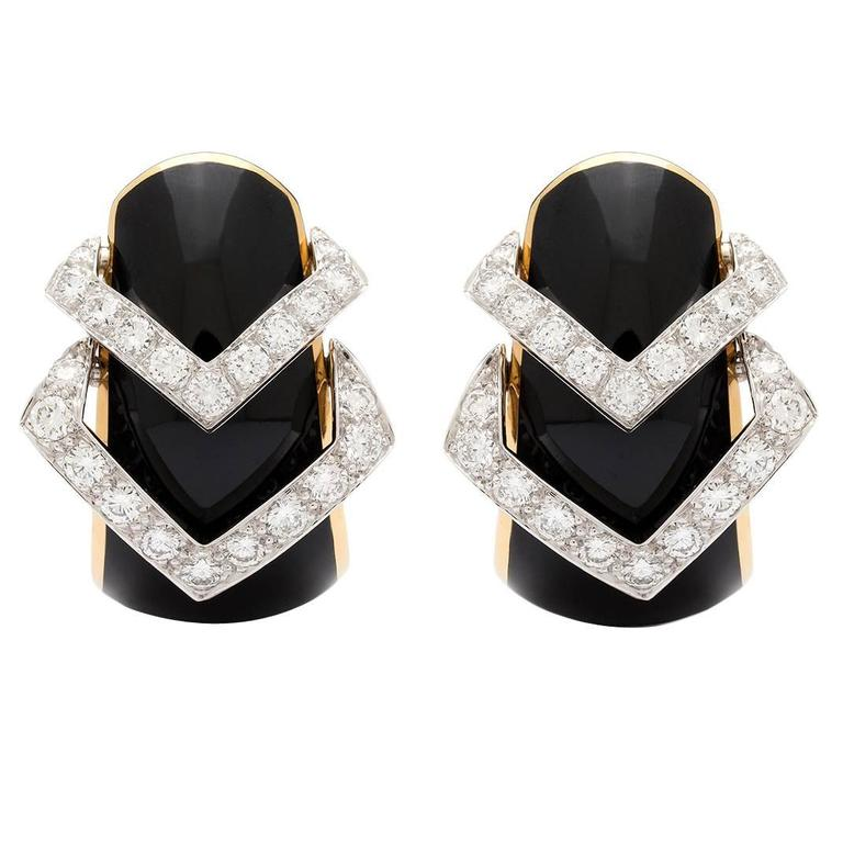 David Webb Black Enamel Diamond Yellow Gold Hoop Earrings For Sale