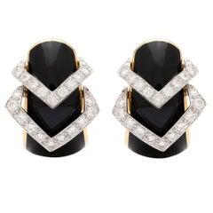 David Webb Black Enamel Diamond Yellow Gold Hoop Earrings
