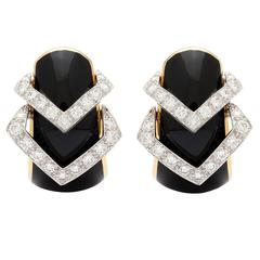 David Webb Black Enamel Diamond Yellow Gold Hoop Earrings