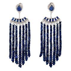 Blue Sapphire Diamond Gold Tassel Earring