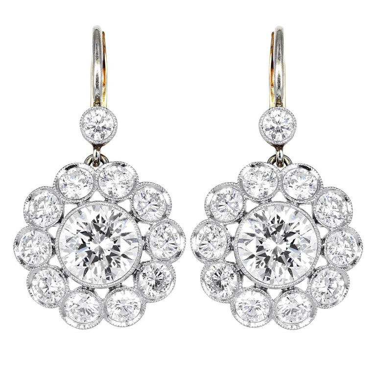 4.75 Carats Diamonds Gold Platinum Drop Earrings For Sale