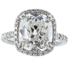 6.02 Carat GIA Cert Cushion Diamond Halo Platinum Ring