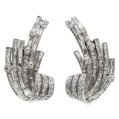 Impressive 1960s Diamond Platinum  Earrings