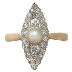 1920s Antique Pearl and Diamond Yellow Gold Cocktail Ring