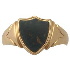 1906 Antique Bloodstone Gold Signet Ring