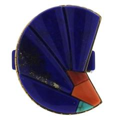 Richard Chavez Native American Navajo Lapis Coral Turquoise Gold Ring