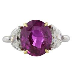 5.07 Carat Pink Sapphire Diamond Gold Platinum Ring