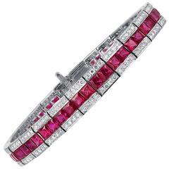 Ruby Diamond Gold Platinum Bracelet