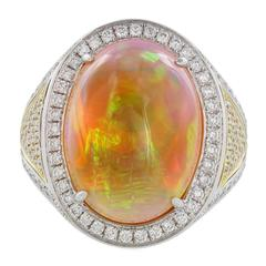 12.36 Carat Opal Diamond Two-Color Gold Ring