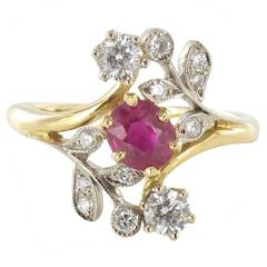 French Floral Design Ruby Diamond Gold Ring