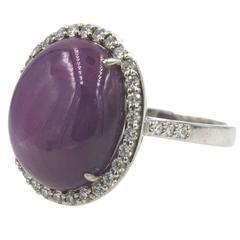 15 Carat Star Ruby Diamond 18 Karat White Gold Ring