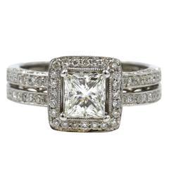1 Carat Princess Cut Diamond Halo Engagement Ring GIA Certificate I/VS2
