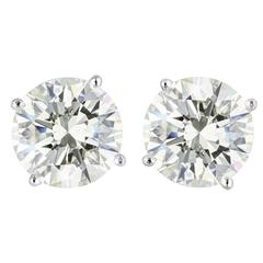 5.00 Carat Round Brilliant Cut Diamond Platinum Stud Earrings