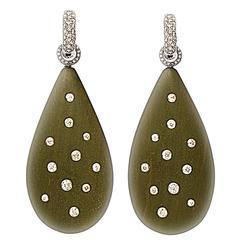 Colleen B. Rosenblat Ebony Diamond Gold Earrings