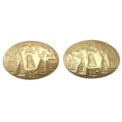 1987 Ilias Lalaounis Gold Cufflinks