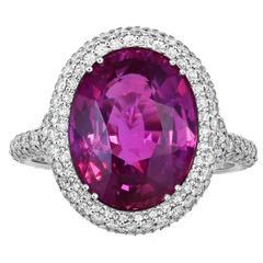 6.47 Carat Oval Pink Sapphire Diamond Platinum Ring