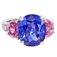 7.10 Carat GIA Ceylon Sapphire Pink Sapphire Platinum Three Stone Ring