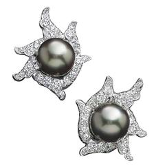 Angela Cummings Tahitian Pearl Diamond Gold Platinum Earrings
