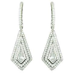Diamond Platinum Kite Shaped Earrings