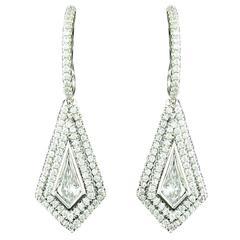 Diamond Platinum Kite Shaped Earrings