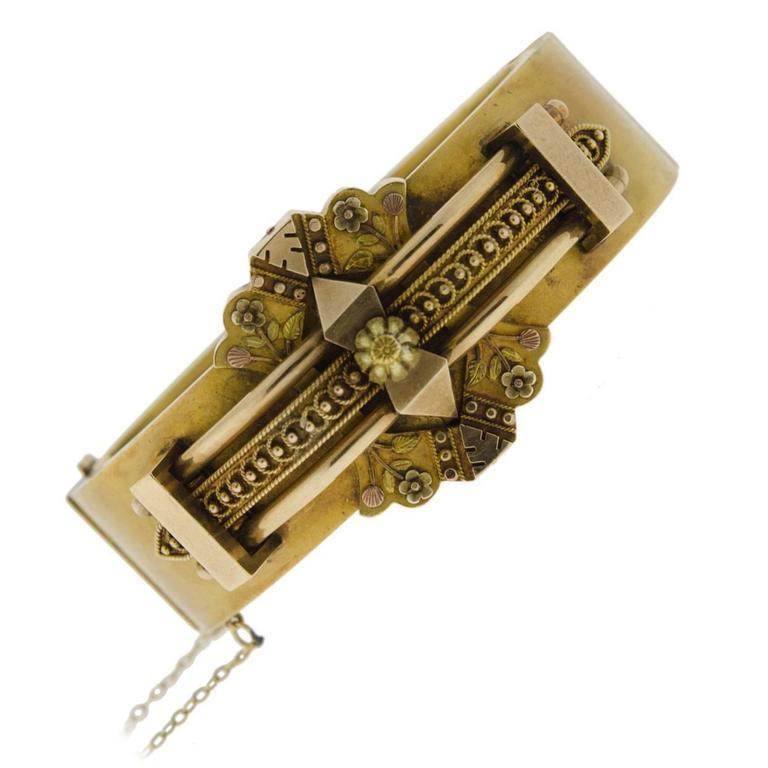 Wide Victorian Etruscan Gold Bangle Bracelet 1