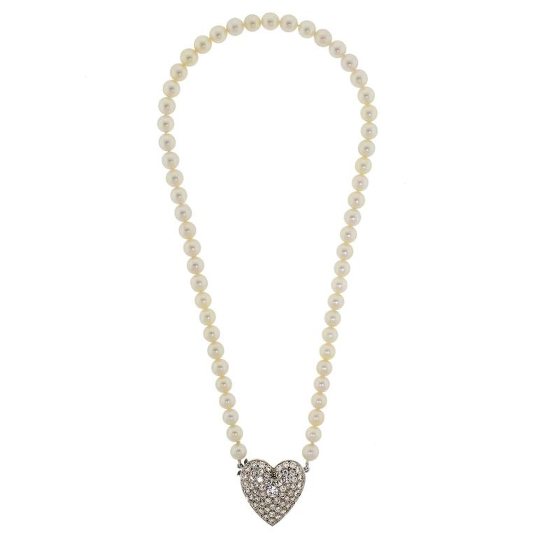 1950s Lovely Cultured Pearl Diamond Gold Heart Necklace