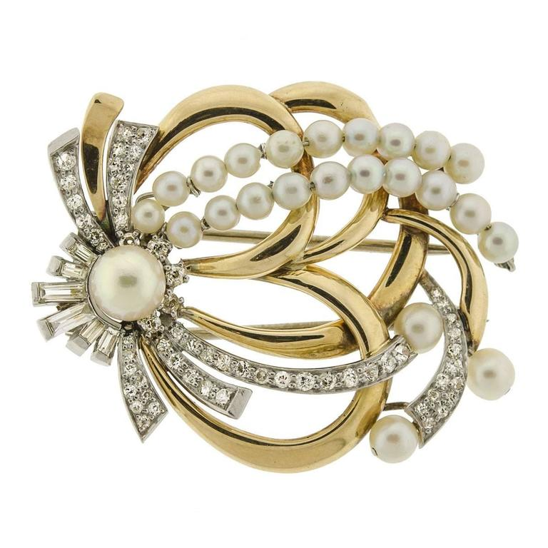 Retro Cultured Pearl Diamond Gold Platinum Brooch