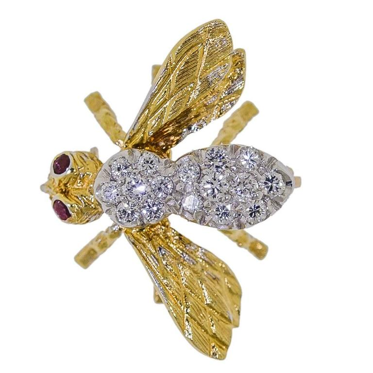 Herbert Rosenthal Ruby Diamond Gold Petite Bee Brooch