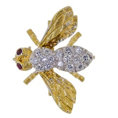 Adorable Herbert Rosenthal Ruby Diamond Gold Petite Bee Brooch