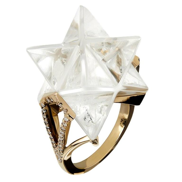 Carved Rock Crystal Diamond Gold Star Ring For Sale At 1stdibs