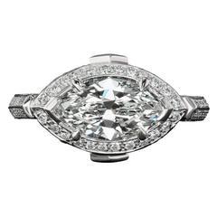 1.83 Carat Marquise Diamond Platinum Engagement Ring