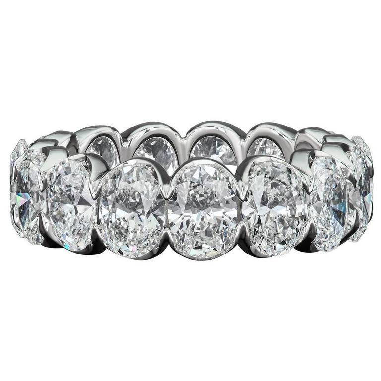 David Rosenberg 7.40 Carat Oval Diamond 18k White Gold Eternity ...