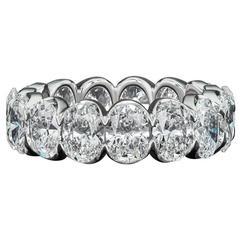 David Rosenberg 7.40 Carat Oval Diamond 18k White Gold Eternity Wedding Band
