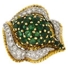 Midcentury Emerald Diamond Gold Ring