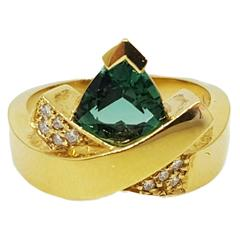 "John Atencio ""Estrella"" Tourmaline Diamond Gold Ring"