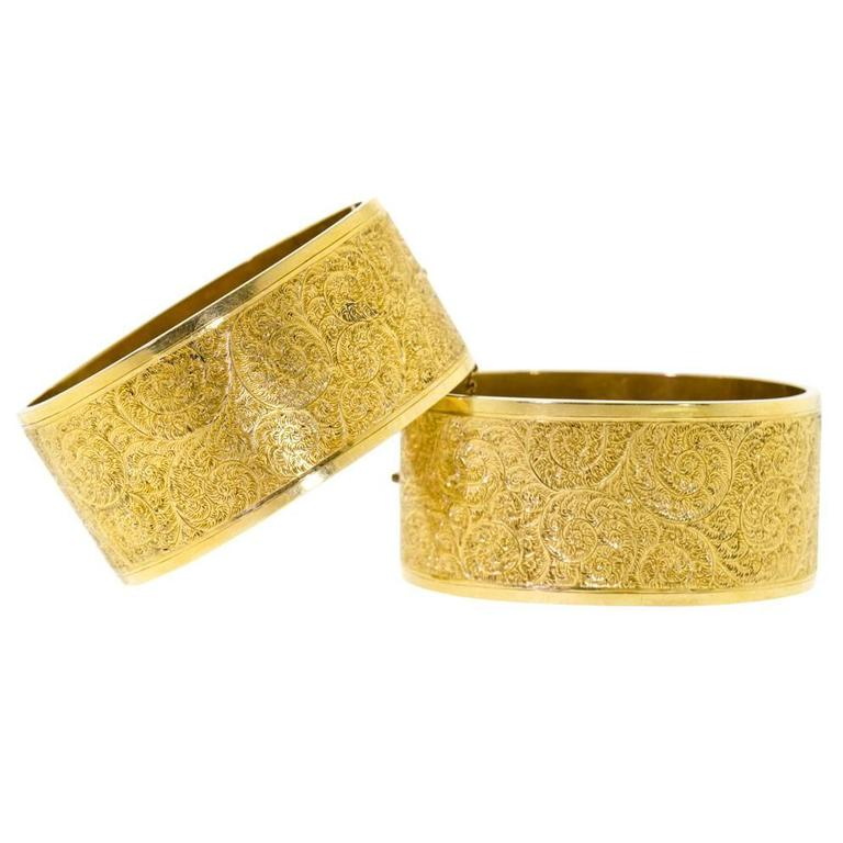 Pair Of Victorian Gold Stiff Hinged Bangle Cuff Bracelets 1