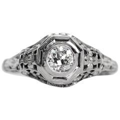 1910s Edwardian .40 Carat Old European Diamond Gold Engagement Ring