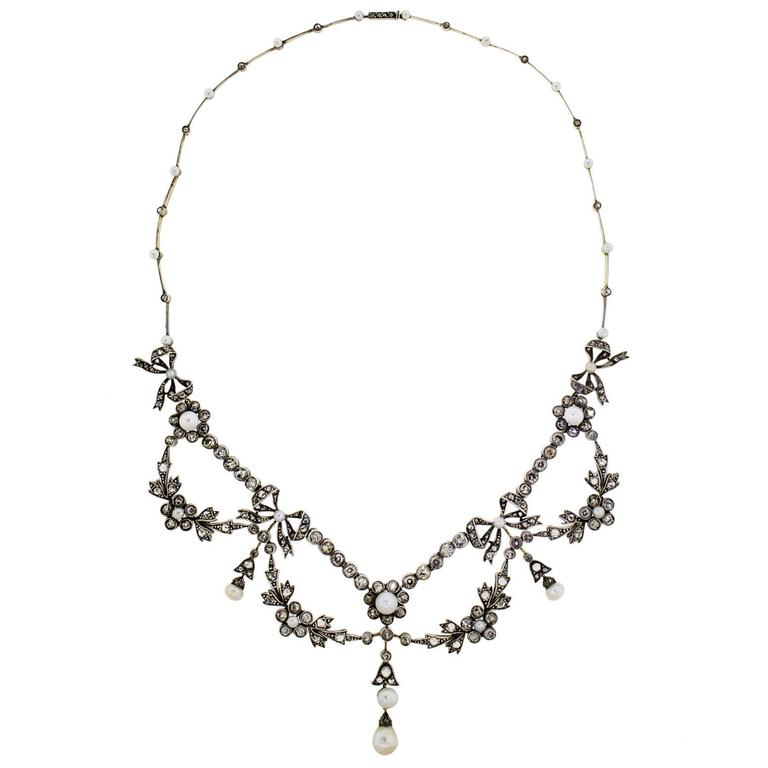 Victorian Pearl Diamond Silver Topped Gold Garland Necklace