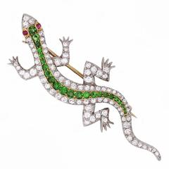 An American Edwardian Demantoid Garnet Diamond Salamander Brooch