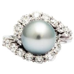 Ferrucci & Co. Silver Grey Tahitian Pearl Diamonds Gold Ring