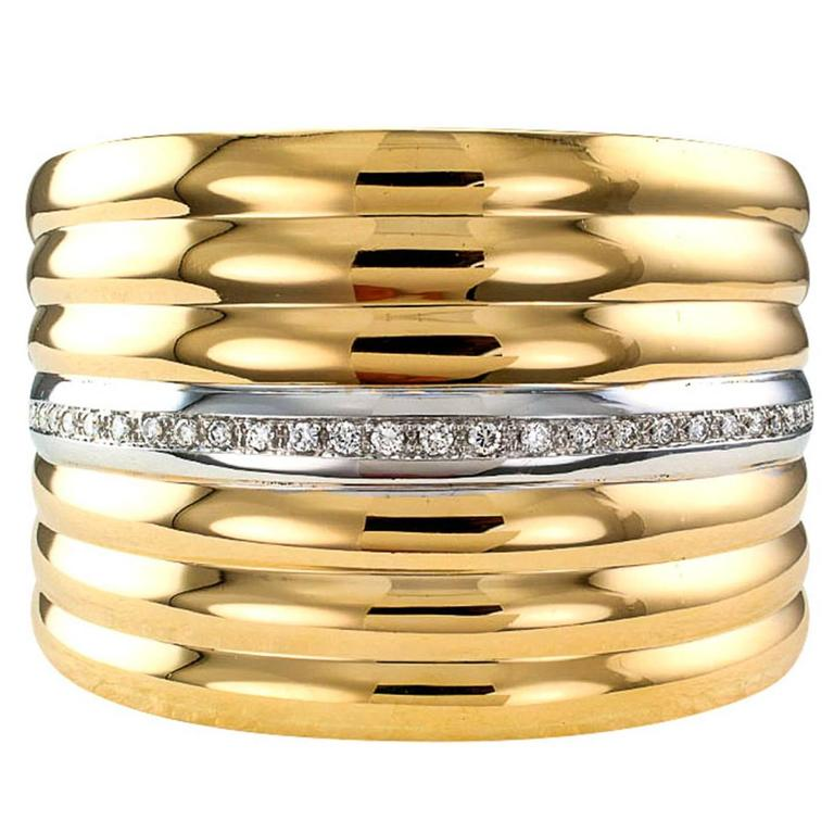 Diamond Gold Hinged Cuff Bracelet