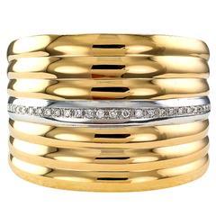 Diamond Gold Hinged Cuff Bracelet