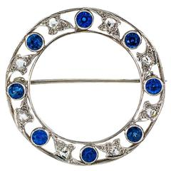 Marcus & Co. Edwardian Sapphire Diamond Platinum Circle Brooch
