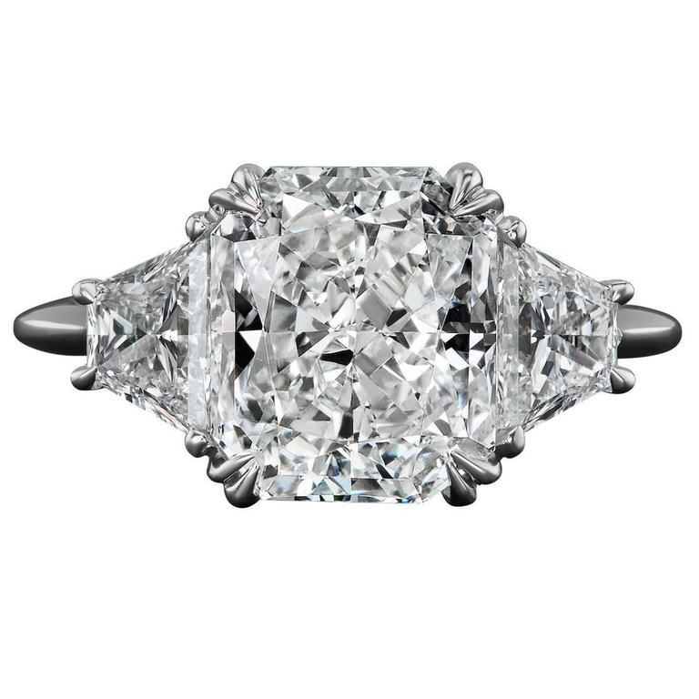 Rosenberg Diamonds Platinum 4.04 Carat Radiant Cut Diamond Engagement Ring