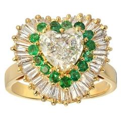 Heart Shape Diamond Emerald Gold Ring