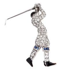1920s Art Deco Tiffany & Co. Platinum, Diamond Golfer Pin